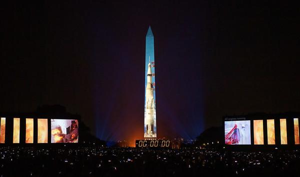 Apollo 11 Saturn V Rocket Projected On The Washington Monument (NASA)