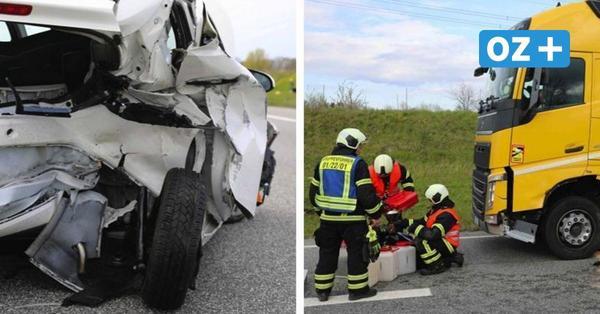 Autos kollidieren mit Laster auf der A19 in Rostock: Zwei Personen verletzt