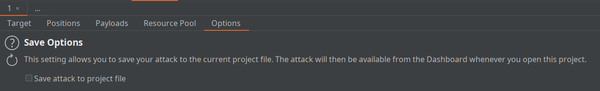Save attack to project file option