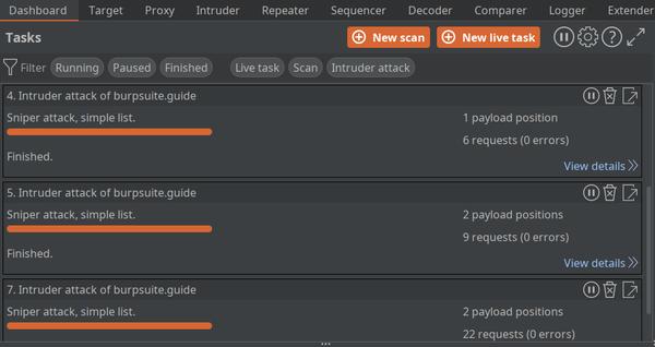 Burp dashboard showing Intruder attacks