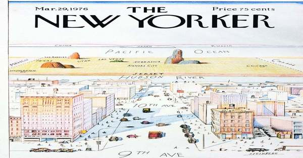 """""""A New Yorker's View of the World,"""" the cover of The New Yorker magazine, May 29, 1976."""