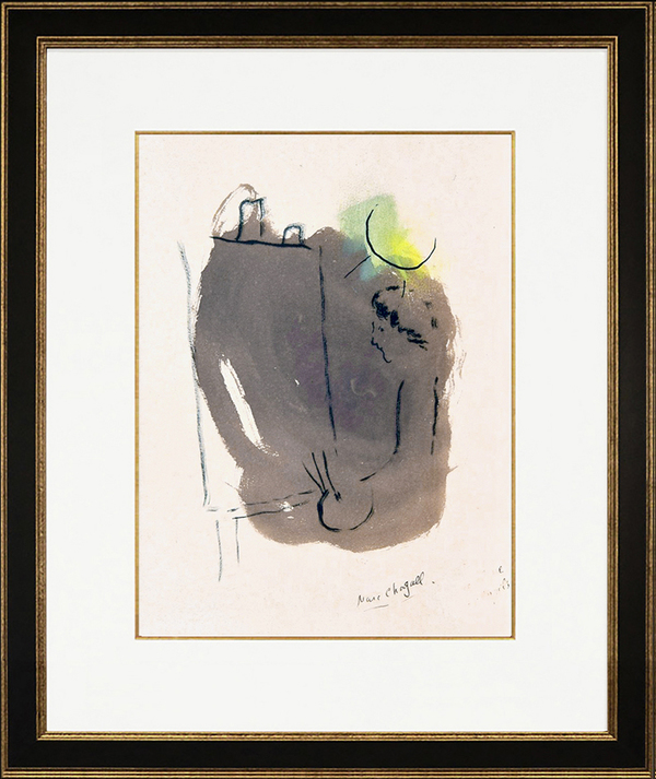 Marc Chagall, L'Artiste au Chevalet (The Artist at the Easel), 1953. Unique Hand-colored Watercolor with Pen and Ink on Paper.