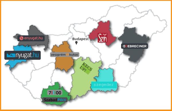 Map of Hungary with the locations of Szabadhirek partners. Source: szabadhirek.hu
