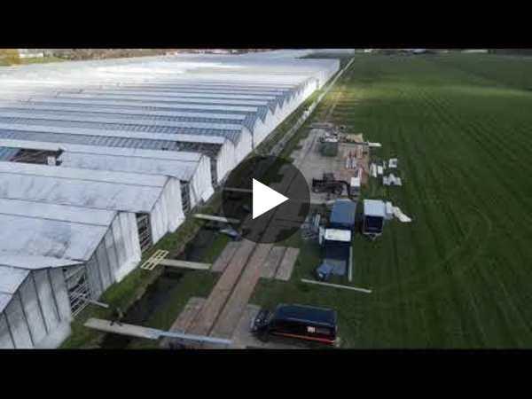 WOUBRUGGE - Beelden levering Lexan Thermoclear Dripgard plastic bij kassen VDE Plant (video)