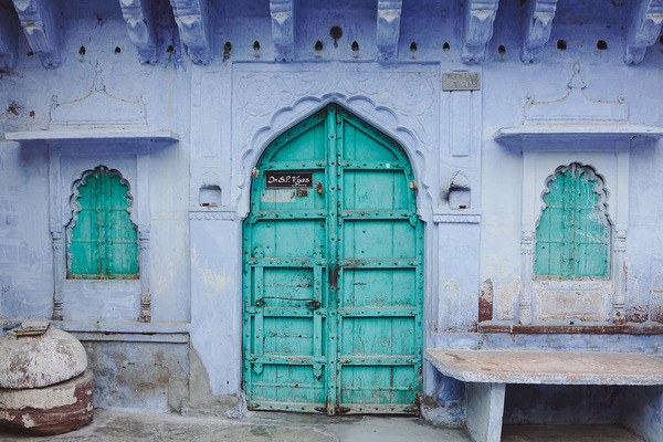 the entrance to a business in Jodhpur