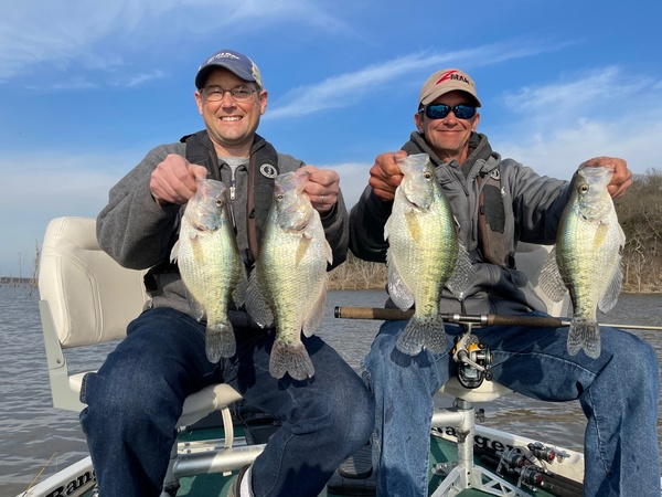 Guide Joe Bragg (right) and David Harrison caught big crappies at Clinton Lake in Kansas. (Photo by Brent Frazee)