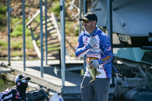 Jacob Wheeler needed every bass he could catch Wednesday en route to a championship in a Bass Pro Tour tournament. (photo by Major League Fishing).