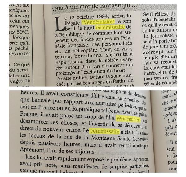 En haut : détail de l'article L'indigène paru dans la revue Tahiti Pacifique en 1995. En bas, détail de la page 322 du roman In Memoriam écrit en 2005 et paru en février 2021.