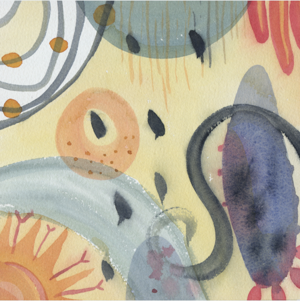 """""""Spring  forward"""" 6 by 6 watercolor on arches watercolor, $50 unframed."""