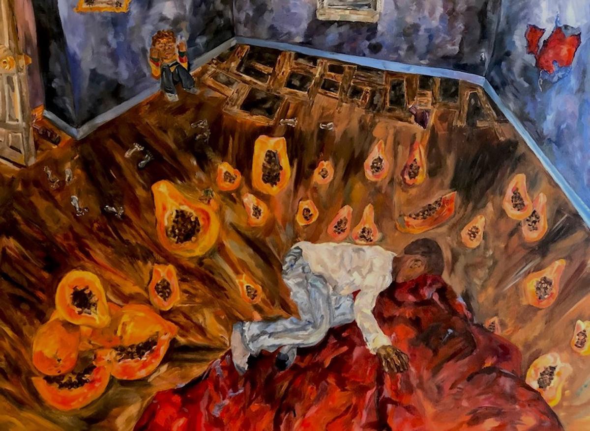 """布里安娜·布鲁(Brianna Blue),《系统》(The System, 2020),布面油画,36""""x 48""""(由学术艺术与写作奖和大都会艺术博物馆提供)"""