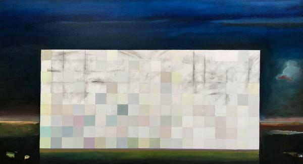"Johan Lowie, ""A light divided"" large landscape,  oil on canvas 180 x110 cm"