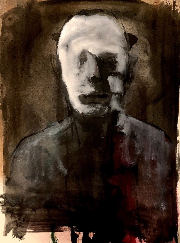 Johan Lowie, Hurt, charcoal and acrylic, an emotion about war