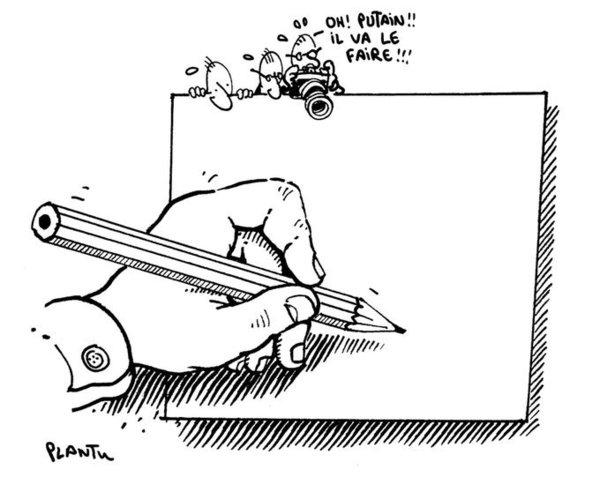 L'audace du dessinateur de presse dessinée par un dessinateur de presse (Plantu).