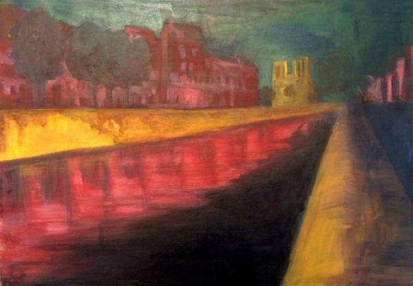 """La Nuit rose, par Aurélie Dekeyser pour illustrer """"Absinthes""""."""