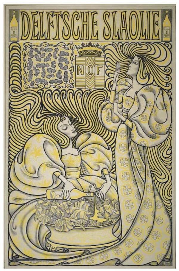 'Affiche Delftsche Slaolie' 1894 - Lithografie: Jan Toorop