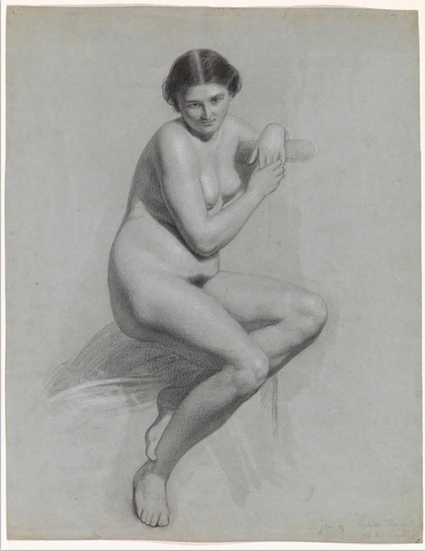 'Vrouwelijk zittend naakt' 1859 - krijt op papier: Thomas Simon Cool (herkomst: voorm. coll. Carel Vosmaer, Rijksmuseum Amsterdam)