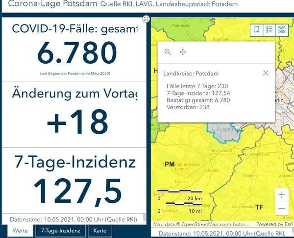 Screenshot vom Dashboard des Robert-Koch-Instituts mit Stand Montag, 10. Mai 2021.