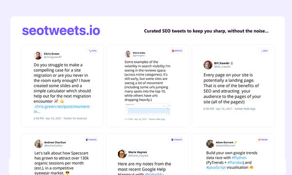 The best of #seotwitterwrapped up, every week.Powered by &partnered with: Tweetpik +Webflow