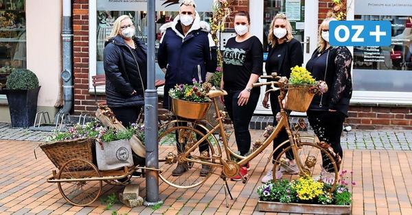 Hingucker in Bad Doberan: Das Team steckt hinter dem Blumenrad in der Mollistraße