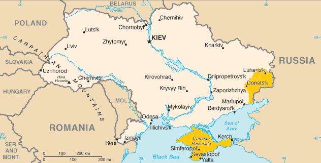 Crimée annexée et républiques séparatistes du Donbass sur la carte de l'Ukraine. Photo : Wikipedia.