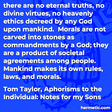 """""""there are no eternal truths, no divine virtues, no heavenly ethics decreed by any God upon mankind.  Morals are not carved into stones as commandments by a God; they are a product of societal agreements among people.  Mankind makes its own rules, laws, and morals."""""""