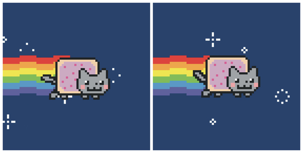 Two frames from Chris Torres's Nyan Cat, 2011, GIF. Published in Artforum magazine, May 2021.