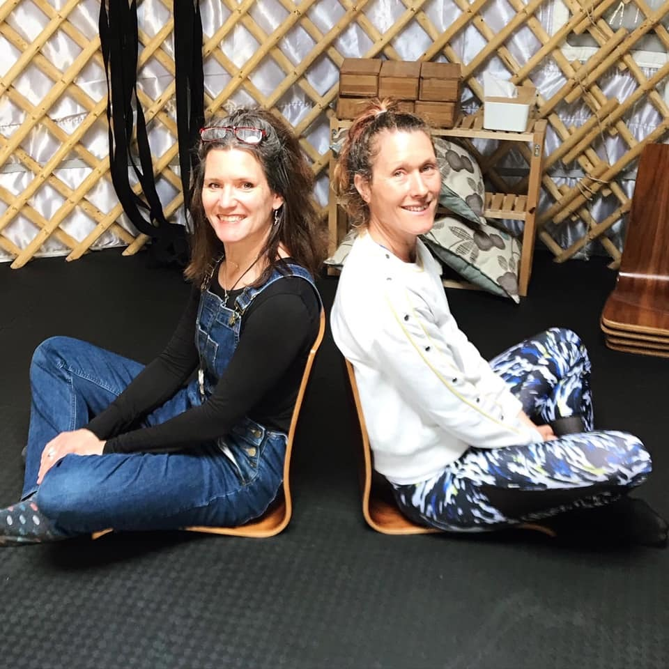 Ruth and me in the yurt.