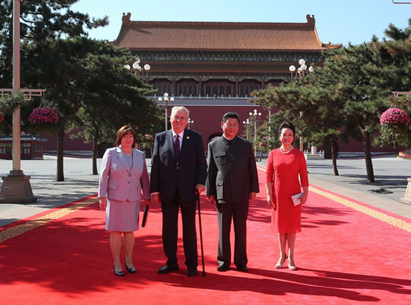 The Czech Republic's founding father, Václav Havel, probably wouldn't have approved of this Czech-Chinese marriage: President Miloš Zeman and General Secretary Xi Jinping (center) with their wives Ivana Zemanová (left) and Peng Liyuan (right). Photo: hrad.cz