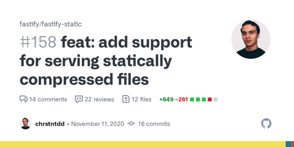 feat: add support for serving statically compressed files by chrstntdd · Pull Request #158 · fastify/fastify-static · GitHub
