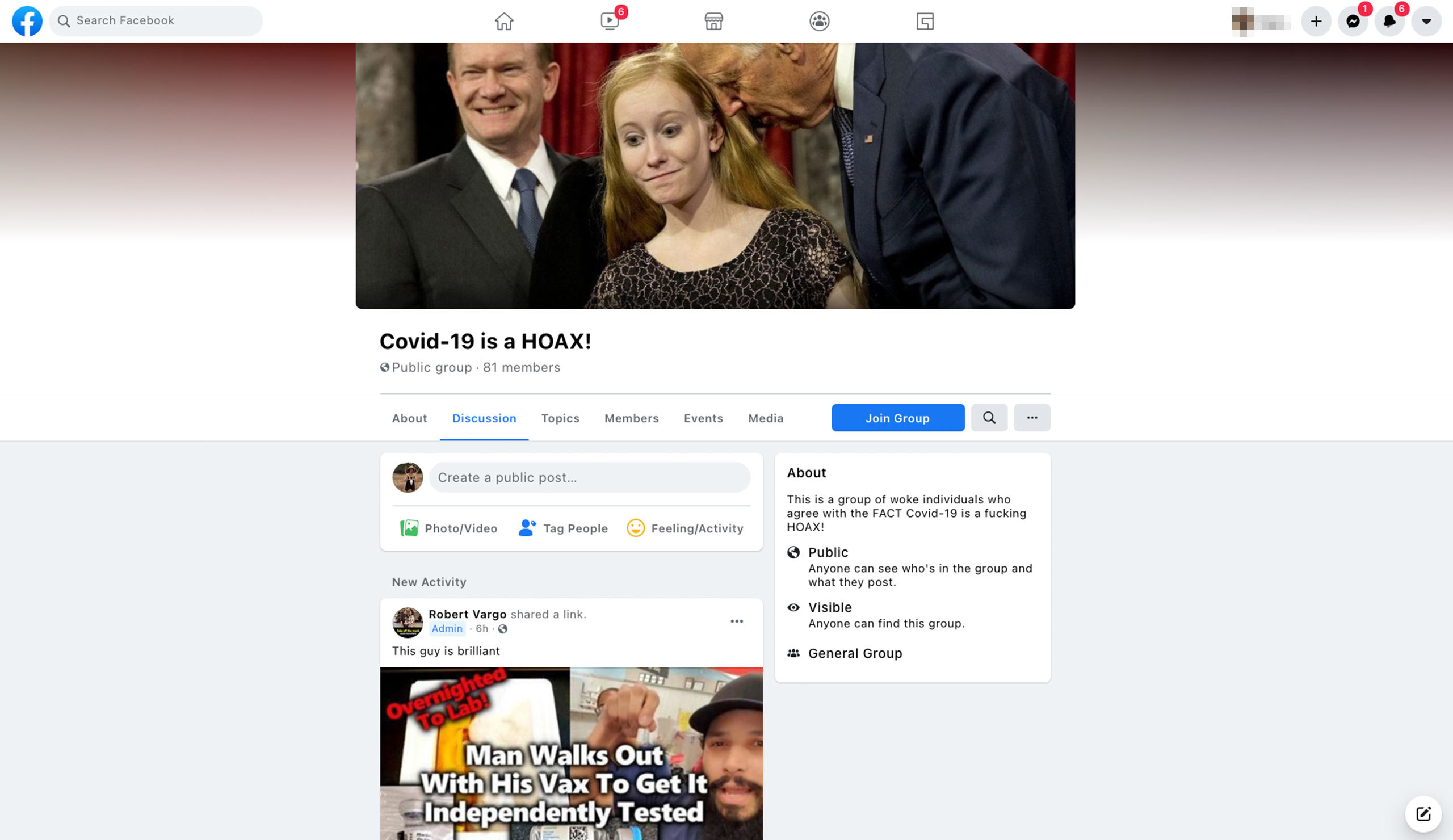 """Facebook suggested that one of our panelists join a group that describes itself as """"a group of woke individuals who agree with the FACT Covid-19 is a fucking HOAX!"""" Source: Facebook"""