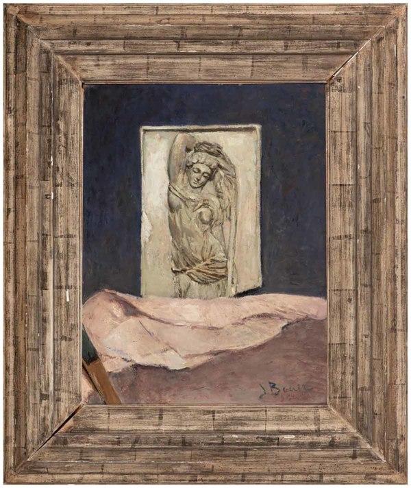 'still life with drapery' ca. 1935 - olieverf op paneel: Jo Bauer (kavel 7, NRC Veilingen)