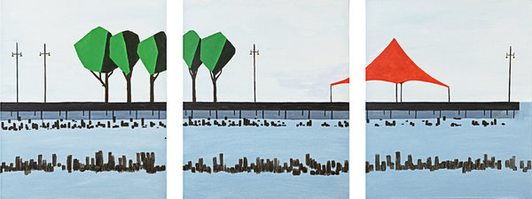 Marco Domeniconi, Christopher Street Pier, Acrylic on canvas - 60 x 24 in. triptych
