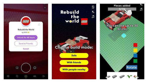 Snapchat got Connected Lenses available where you can build Lego with others