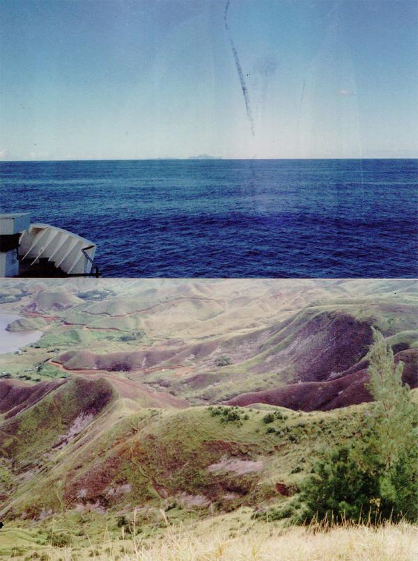 Rapa au loin, vue du Tuhaa Pae et paysage de l'île en 1997 (Archives de Jérôme Walczak)