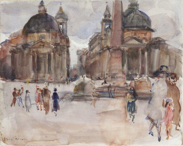 'Piazza del Popolo, Rome' 1927 - aquarel op papier: