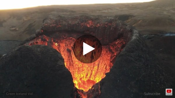 Iceland volcano drone footage, watch into lava pool