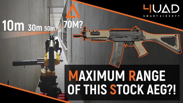 What is the maximum range of a stock airsoft gun?