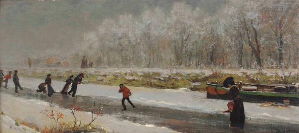 'Schaatsers' - olieverf op doek op board: Daniël Jordens (herkomst: coll. Ubbens Art)