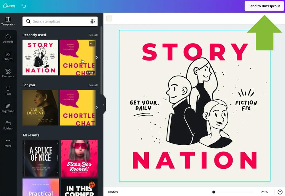 Canva podcast tasarım ekranı