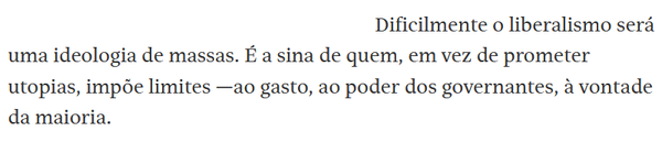 Trecho da coluna de Joel Pinheiro na Folha