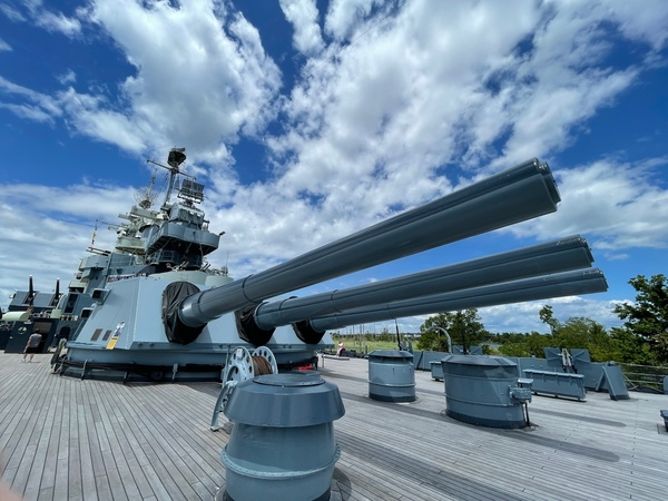 Enjoy this photo from my road trip. It's from the deck of the Battleship North Carolina