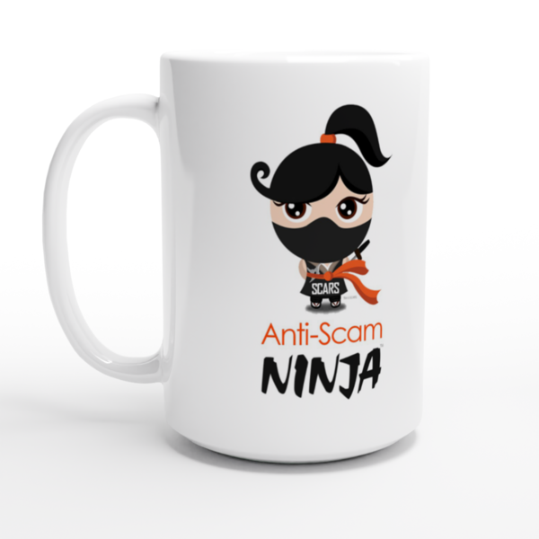 Exclusive Anti-Scam Ninja™ - White Mug 15oz - SCARS Design | Available Worldwide | SCARS Company Store