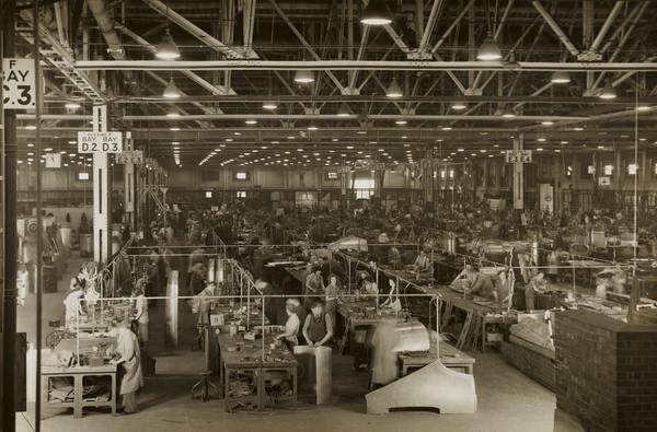 The old economy: WWII Aeroplane Factory in Birmingham, England.