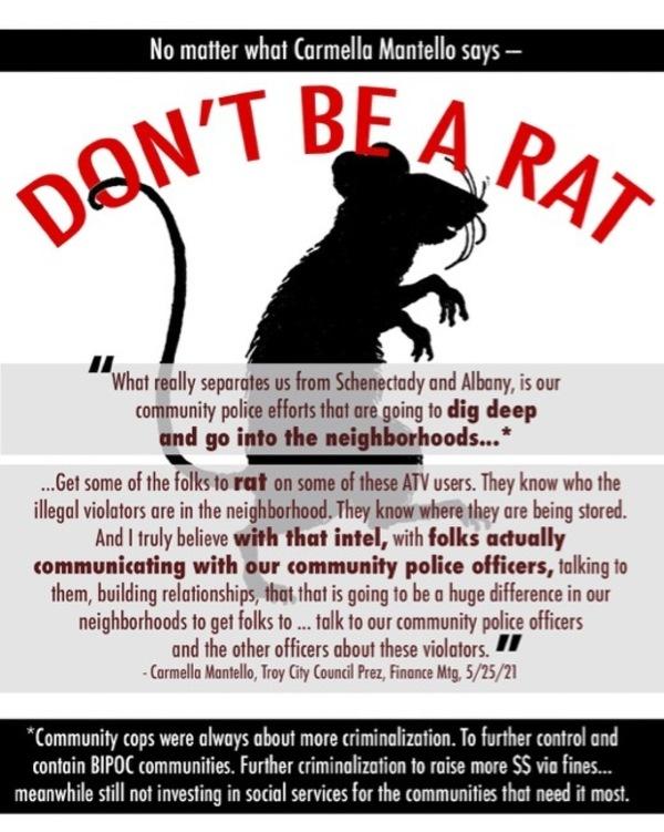 """No matter what Carmella Mantello says—Don't Be A Rat"""