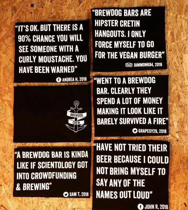 BrewDog embracing negative feedback in 2017, with the launch of their crew tees.