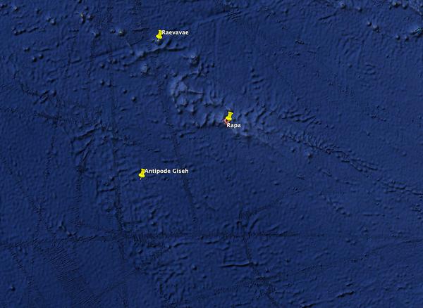 Proximité de Rapa Iti avec le point situé sur l'antipode de la pyramide de Kheops, placé sur google Earth.