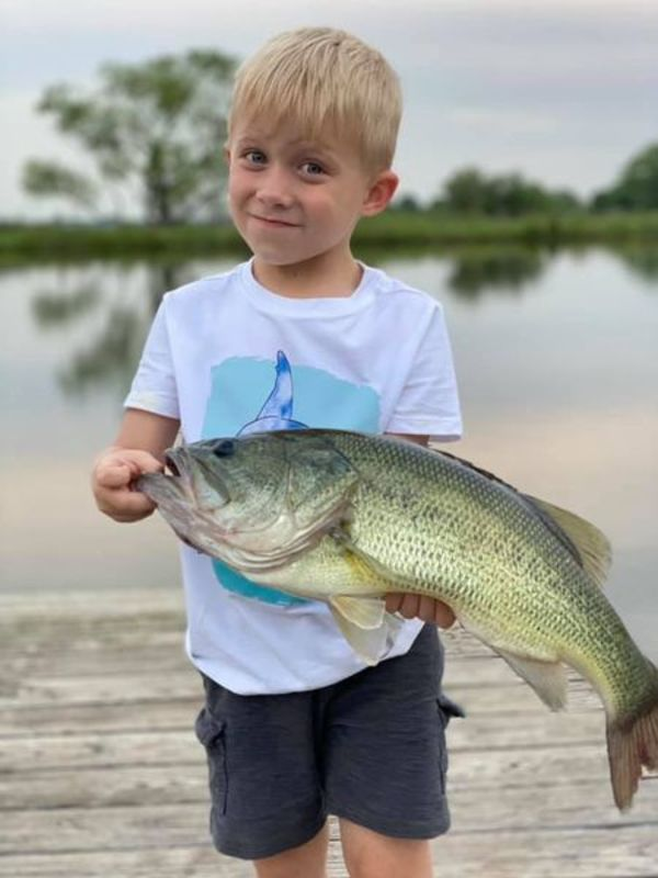 Hendrix Gleason, 4, posed with his trophy catch.
