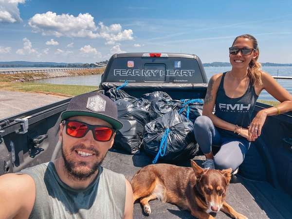 Bassmaster pro Carl Jocumsen and his wife Kayla are on a quest to pick up litter at lakes where he competes in Elite Series tournaments. (photo by