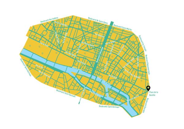 So ähnlich könnte die verkehrsberuhigte Zone in Paris aussehen.