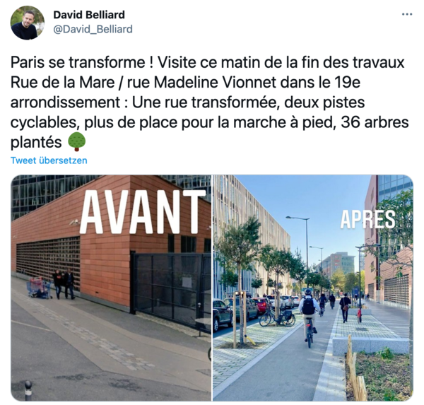 David Belliard wirbt auch auf Twitter wort- und bildreich für den Umbau der Stadt.
